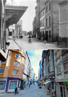 Antes y Después de La Gaiteira - Primer edificio de la parte izquierda foto antes, corresponde al edificio del Cine Ideal Cinema.