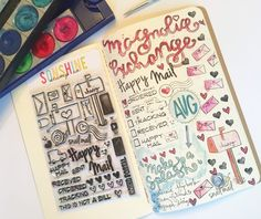 """Ashley Haake, aka @magmagandme created this page in her travelers notebook using the """"Happy Mail"""" stamp set.  Check out how you can create your own happy mail tracker!"""