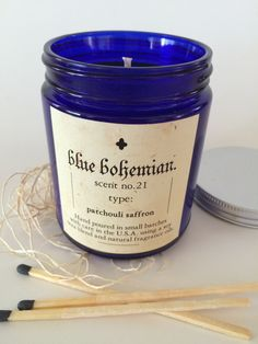 blue bohemian handmade candles Monteblue.etsy.com