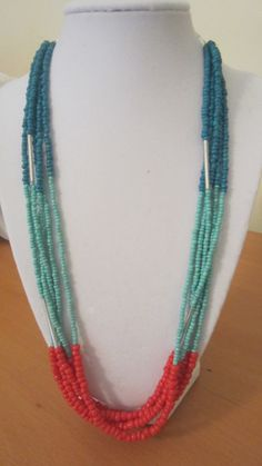Coral Teal Turquoise Necklace by Beadosaurus on Etsy (Ordered! Should be here next week!)