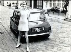 The Fantastic Twiggy in the 60s with the British classic the Mini Cooper