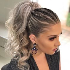 DIY Ponytail Ideas You're Totally Going to Want to 2019 Adorable Ponytail Hairstyles; Classic Ponytail For Long Hair; Dutch Braids To A High Pony;High Wavy Pony For Shoulder Length Hair Cute Ponytail Hairstyles, Cute Ponytails, Summer Hairstyles, Wedding Hairstyles, Hairstyle Ideas, Ponytail Ideas, High Ponytail With Braid, Trendy Hairstyles, Hair Ponytail