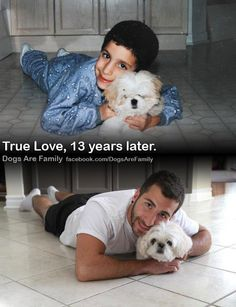 boy and dog 13 years together