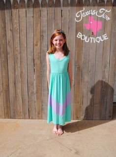 Lil Girls Mint and Lilac Chevron Tank Maxi Dress (XS-L)