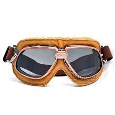 bbc30e7f77202 BJMOTO WWII Vintage Style Motorcycle Goggles Pilot Motocross Cycling  Glasses Black PU Leather Retro Jet Helmet
