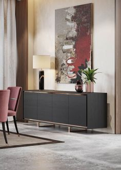 A dining room that mixes the simplicity of the straight lines, the modernity of the curved lines and the classic design of some of the pieces. Sideboard Decor, Decor, Dining Room Design, Dining Room Decor, Luxury Sideboard, Interior Room Decoration, Home Decor, Room Decor, Sideboard Designs