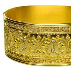 Damaskos 18k Gold Iraklion Cuff Bracelet. 18k Gold and 6 Diamonds. Hand crafted detail by our jewelry designers makes the work stand out. Greek jewelry at www.athenas-treasures.com