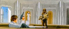 Star Wars: The Empire Strikes Back - Han, Leia, Chewbacca, and C3P-O at Cloud CIty, Bespin.