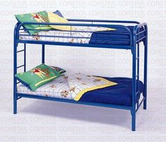 Coaster Toby Twin over Twin Metal Bunk Bed in Blue Finish Bunk Beds With Drawers, Metal Bunk Beds, Twin Bunk Beds, Kids Bunk Beds, Twin Twin, Kids Table And Chairs, Types Of Beds, Bed Base, Blue Bedding