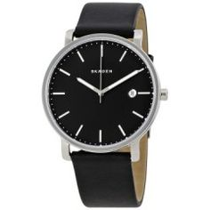 Men's Watches - Skagen Hagen Men's Watch for sale in South Africa Casual Watches, Mens Watches For Sale, Skagen, Stainless Steel Case, Sport Watches, Men's Watches, Black Leather, Oclock, Quartz Watch