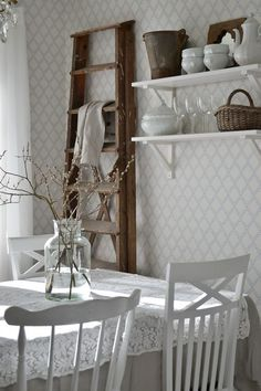 White Cottage, Cottage Style, Country Interior, Scandinavian Living, Modern Country, French Country Decorating, Simple House, Cozy House, Ladder Decor