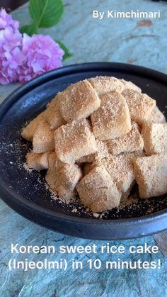 Korean Sweet Potato Cake Recipe, Sweet Rice Flour Recipe, Korean Sweet Potato Noodles, Korean Rice Cake, Korean Sweets, Korean Dessert, Korean Food, Korean Dishes, Rice Cake Recipes