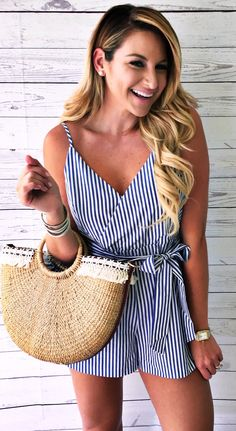 769316c3f0b  summer  outfits Striped Wrap Romper + Beach Tote Bag    Shop This Outfit