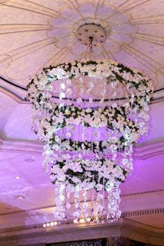 Designed by Robbie Honey. Huge flower chandelier