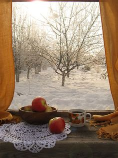 Love this winter window view! Snow Scenes, Winter Scenes, Ventana Windows, I Love Winter, Looking Out The Window, Winter Magic, Winter's Tale, Window View, Through The Window