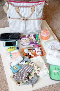 Lovely Little Snippets: What's in my Bag :: Skip Hop French Stripe My Bags, Purses And Bags, Diaper Bag Purse, Hospital Bag Checklist, Pregnancy Journal, What In My Bag, Baby Essentials, Cloth Diapers, Baby Care