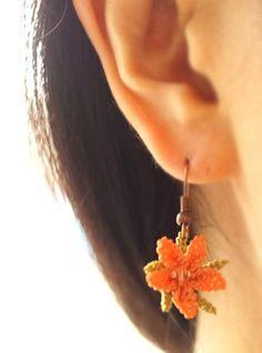 Silk needle lace igne oya earrings salmon orange by MiSTANBULcom