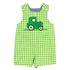 Our Reversible John John is fun and play friendly. A tractor on green check reverses...