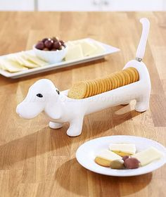 2-PC DACHSHUND DOG CONDIMENT DISH & SPREADER SET KITCHEN TABLE DECOR #Unbranded