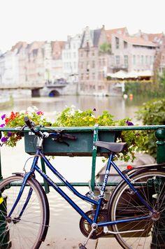 bike on the bridge river Brussels belgium