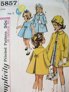 Free Shipping, Simplicity 5857 Vintage 60s Girls 3 Dressy Dress Coat Hat