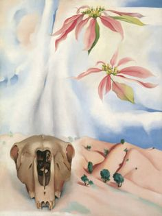 Mule's Skull with Pink Poinsettia  O'Keeffe, Georgia  1936  oil on canvas  40 1/8 x 30 in