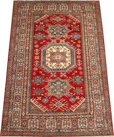 Today's Kazak is a modern shape of old Caucasian rugs which strictly adheres to traditional design elements of the Caucasus. It has elements such as the stepped hooked polygons, geometrical medallions and rosettes, presented in more stylized manner and with a new dimension  http://www.alrug.com/4447