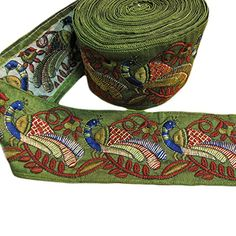 """Indian Mirrored Ari Embroidered Green & Red Peacock Costume Ribbon Fabric Lace Sari/Saree Silk Border Trim (Sold by 2 Yard) - 3"""" wide, has gold shimmer thread along the peacocks"""