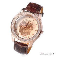 Damen Armbanduhr Strass Eule Rosegold schoko