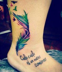 Frase: Cada caída es un nuevo comienzo, Pluma y Aves
