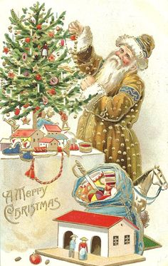 """""""A Merry Christmas"""". This original antique postcard is a woven silk postcard from my postcard collection. Santa is decorating a tree, and has a bag full of toys for some lucky girls and boys. Santa Claus Christmas Tree, Old Christmas, Old Fashioned Christmas, Victorian Christmas, Father Christmas, Xmas, Christmas Gifts, Vintage Christmas Images, Christmas Pictures"""