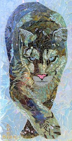 Buy Snow Puma, a mosaic sculpture on glass, by Anne Bedel from France, … - Trends Garden Decorations Tile Art, Stone Art, Cat Art, Art Stained, Painting, Sculpture, Art, Glass Mosaic Art, Glass Art