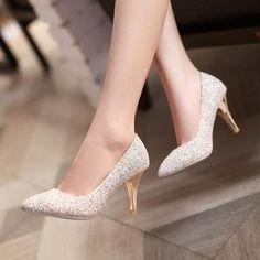Pointed Toe Women Pumps Spike High Heels Sequined Wedding Shoes Woman #weddingshoes