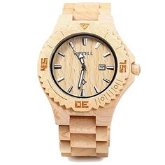 Bewell Men Women Wooden Watch Natural Maple Wood Japan Movement with Calendar Date Function Beige ** You can get more details by clicking on the image.
