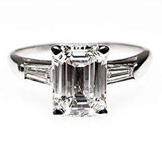 Vintage 1.5 Carat Emerald Cut Platinum & Diamond Engagement Ring