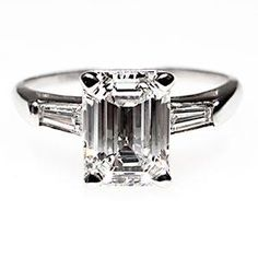 VINTAGE 1.5 CARAT EMERALD CUT VS DIAMOND ENGAGEMENT RING SOLID PLATINUM ECO FRIENDLY