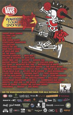 The Vans Warped Tour lineup in poster form. Ready to rock in 2012!