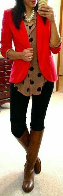 The red blazer and boots combo is cute. Not a huge fan of polkadot, but I'm a fan of adventurous and this outfit is!