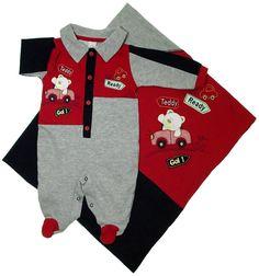 Roupa de Bebe - Saída de Maternidade - Urso Tedy 5473 - Vermelho / Cinza | Cegonha Encantada