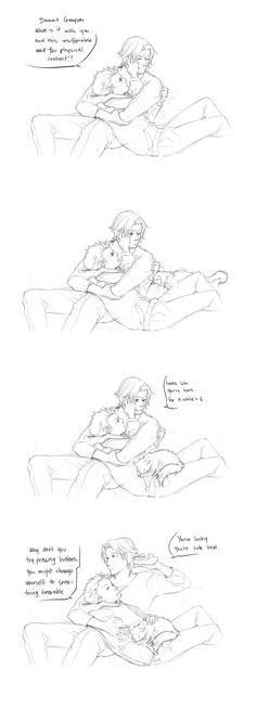 Dick Grayson and Damion Wayne  DC: Compulsory Cuddles by kitten-chan.deviantart.com on @deviantART
