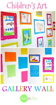 Easy low-cost children's gallery wall, which makes use of old sample paint pots. Flexible to use, practical, and decorative too! artful-kids.com/blog