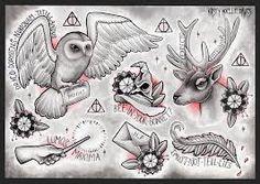 Google Image Result for http://fc09.deviantart.net/fs70/i/2013/219/d/f/harry_potter_themed_tattoo_flash_page_by_kirstynoelledavies-d6h0tga.jpg
