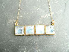 Rainbow Moonstone Tile Gold Necklace by KattilacGems on Etsy