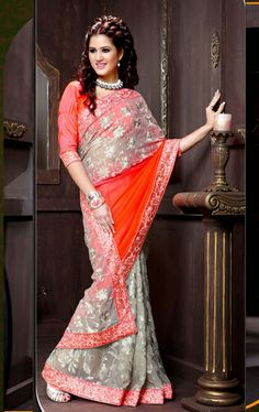 Picture of Amazing Coral and Gray Fashion Designer Saree Online Shopping