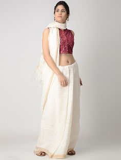 Pink-Ivory Front-open Cotton Ikat Blouse by Jaypore Stylish Blouse Design, Indian Jewellery Design, Shopping Coupons, Saree Blouse, Ikat, Blouse Designs, Dresses Online, Lace Skirt, Ivory