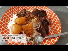 MEAT AND POTATO STEW WITH RICE. TODAY'S LUNCH. YUM. - YouTube Stewed Potatoes, My Cookbook, Pot Roast, Rice, Lunch, Beef, Cooking, Ethnic Recipes, Food