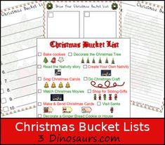 Free Christmas Bucket Lists