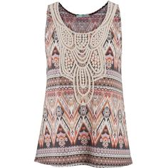 maurices Lightweight Tank In Ethnic Print With Crochet ($26) ❤ liked on Polyvore featuring tops, shirts, tanks, blouses, sleeveless top, multi, pink shirt, pattern shirts, polyester shirt and crochet shirt