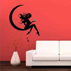 Fairy Moon Heart Shoe Pin Up Girl Wall Sticker Decal Transfer Mural Stencil Art   eBay