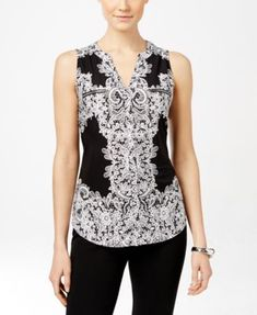 INC International Concepts Sleeveless Printed Zipper Top, Only at Macy's $50.99 Go for bold style in this sleeveless, zipper detailed top from INC International Concepts.